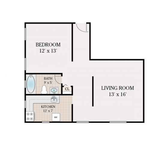 1 Bedroom 1 Bathroom. 672 sq. ft.