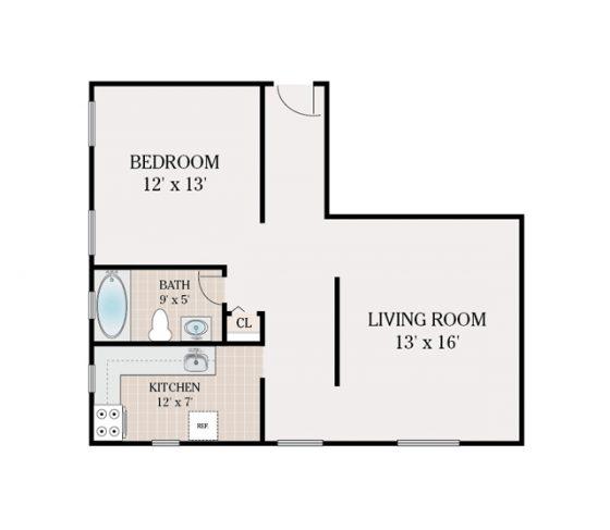 1 Bedroom 1 Bathroom. 672 sq. ft.
