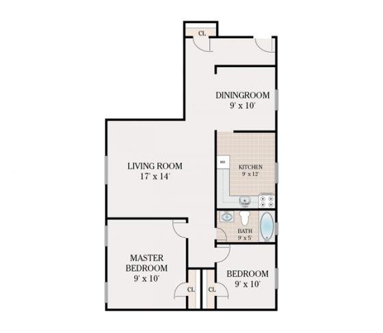 2 Bedroom 1 Bathroom. 745 sq. ft.