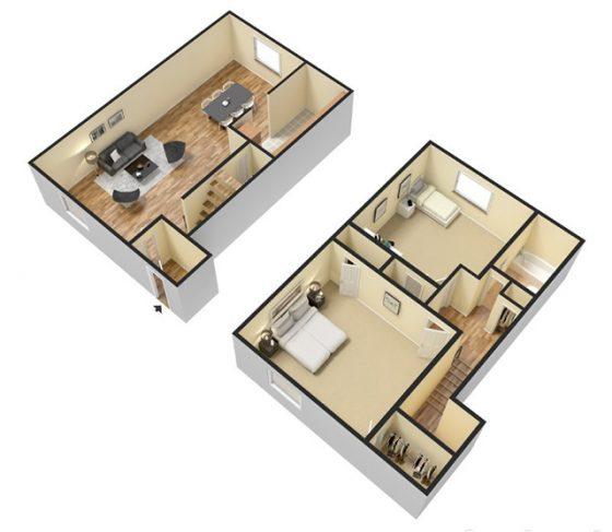 2 Bedroom 1 Bathroom Townhouse. 3D Furnished. 745 sq. ft.