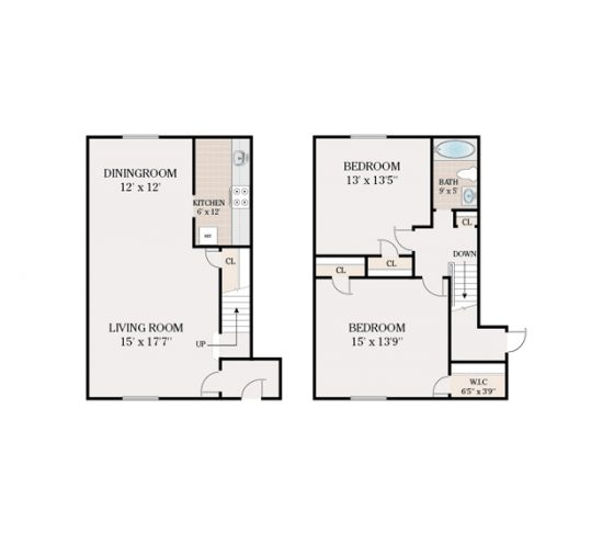 2 Bedroom 1 Bathroom Townhouse. 745 sq. ft.